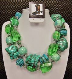 GREEN / TURQUOISE CHUNKY Western Cowgirl by CayaCowgirlCreations, $50.00