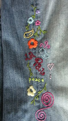 Embroidered jeans…oh yeah!–I love to embroider-my grandmother taught me–so s… Embroidered jeans…oh yeah!–I love to embroider-my grandmother taught me–so sad to see such an art lost 🙁 Embroidery Hearts, Cross Stitch Embroidery, Hand Embroidery, Machine Embroidery, Embroidery On Jeans, Embroidery Designs, Vintage Embroidery, Embellished Jeans, Embroidered Jeans