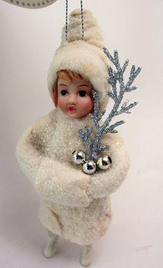 Amazon.com: Christmas Holiday Ornament Set 3 Vintage Style Cotton Batting Doll Children Glitter