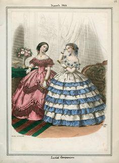 In the Swan's Shadow: Ladies' Companion, March 1858.  Civil War Era Fashion Plate