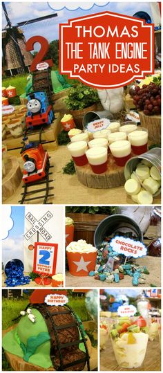 This fun party recreates the opening scene of Thomas the Tank Engine! See more party ideas at CatchMyParty.com!