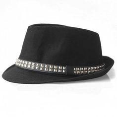 Chic Style Stud Design Fedora Hat For Men and Women #men, #hats, #watches, #belts, #fashion, #style