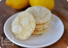 Super easy lemon crinkles-- maybe don't roll in powdered sugar and use extra lemon juice and powdered sugar to glaze after baking...