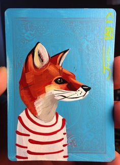 Red Fox portrait N121 on a playing cards. Original acrylic painting. 2013