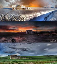 3 different seasons...same old house on The Palouse...Washington State Eric Dematto Photography
