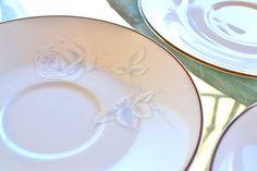 noritake virtue | Virtue Noritake Rose Saucers Vintage Something Blue Bridal Embossed ...
