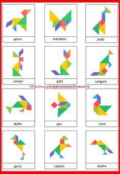 Tangrams to print - Lulu the mole, free games for kids Ce fantastic return on Montessori Activities, Preschool Math, In Kindergarten, Learning Activities, Activities For Kids, Tangram Puzzles, Busy Boxes, Learning Shapes, Math Art