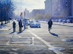 """""""Harlem High Noon,"""" Bruce Braithwaite, oil on canvas, 18 x private collection. High Noon, New Series, Landscape Paintings, New York City, Oil On Canvas, Street View, Nyc, Urban, Studio"""