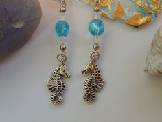 Seahorse Sealife Beach Dangle Charm Earrings by pnljewelrydesigns, $7.00