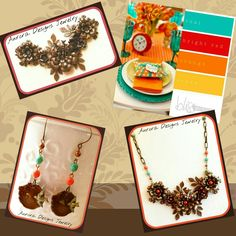 July/August CHOXIE/COLOR CHALLENGE.  Assemblage necklace and earrings set using chocolate brass and turquoise, orange, and red.  Designed and created by Marcia Tuzzolino of Aurora Designs Jewelry.