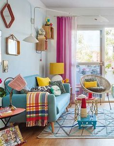 11 Spring Home Decor Ideas With Pastel Color - GODIYGO.COM - pretty pink curtain You are in the right place about home decor Here we offer you the most beautifu - Decor, Home Living Room, Room Design, Spring Home Decor, Home Decor, Apartment Decor, Home Deco, Colourful Living Room Decor, House Colors
