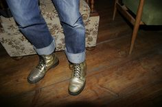 Gold shoes in Berlin.
