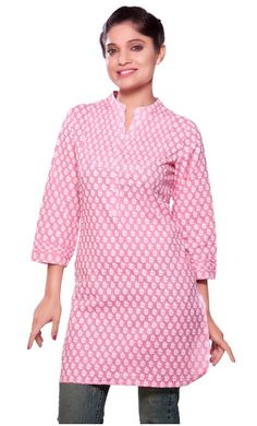 Akkriti Women's - Kurta Tunic- Front Button Placket. This feminine, pin tucked yoke tunic is the perfect cold weather pick me up.  The soft color combination is easy to match with fitted jeans or  leggings.