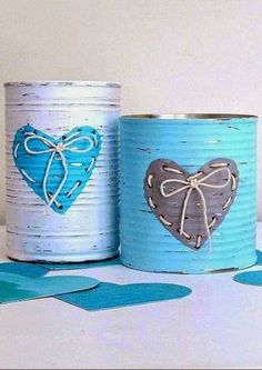 decorative tins made by napkin decoupage Valentine Day Crafts, Valentine Decorations, Valentines, Tin Can Crafts, Diy And Crafts, Tin Can Art, Recycled Tin Cans, Crayon Heart, Custom Baby Gifts