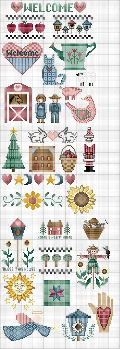 """country"" minis - cross stitch / Schema punto croce Folk Art Motifs"