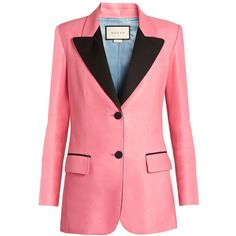 Peak-lapel single-breasted leather jacket Gucci MATCHESFASHION.COM featuring polyvore, women's fashion, clothing, outerwear, jackets, gucci, blazer, gucci blazer, red blazer jacket, red leather jacket, 100 leather jacket and red jacket