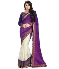 PURPLE AND CREAM DESIGNER #SAREE Fabric: #Georgette, #Chiffon Code:SMR1006