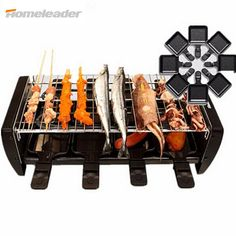 Homeleader BBQ Electrical Grill Indoor Family Grill Machine Non-slip Mat Electric Grill Shipping Free with Flat Pan K45-022