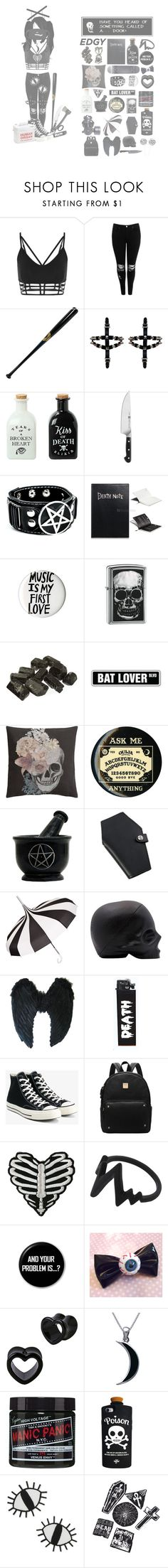 """puppet of a killer queen"" by cocopuffkitty ❤ liked on Polyvore featuring Boohoo, Hot Topic, Zwilling J.A. Henckels, Zippo, H&M, Hourglass Cosmetics, GAS Jeans, GET LOST, Converse and Carolina Glamour Collection"
