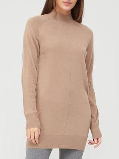 V by Very Super Soft Front Seam Detail Longline Jumper - Taupe | littlewoodsireland.ie High Leg Boots, Long Toes, Long A Line, Dress Outfits, Dresses, Taupe, Jumper, High Neck Dress, Detail