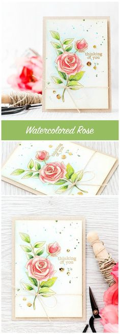 Gold embossed flowers let the watercoloring shine. For more please click the following link: http://limedoodledesign.com/2015/11/gold-embossed-flowers/