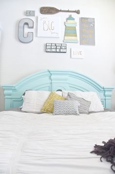 beach decor ideas bedroom using teal, gray, and yellow and a fun gallery wall. Summer Bedroom, Home Bedroom, Cottage Bedrooms, Dream Bedroom, Master Bedroom, Funky Home Decor, Beach House Decor, Diy Home Decor, Bedroom Layouts