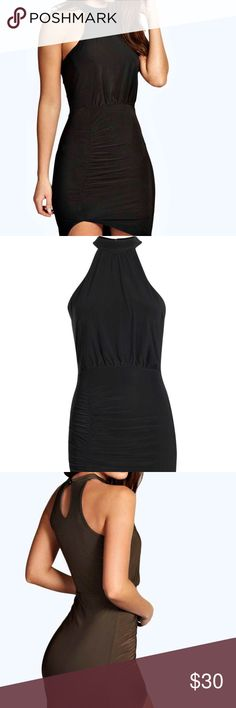 """Boohoo Little Black Dress NWT. High neck, bodycon fit. 95% Polyester, 5% Elastane. Shoulder To Hem 133cm/52"""", Bust 41cm/16"""" Waist 36cm/14"""" (Measured on a UK size 10) Machine Wash. Model Wears UK Size 10, US size 6. THIS LISTING IS FOR THE BLACK DRESS. Boohoo Dresses Mini"""
