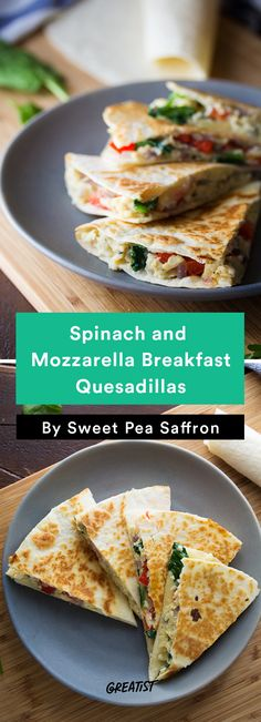 3. Spinach and Mozzarella Breakfast Quesadillas #Greatist http://greatist.com/eat/scrambled-egg-recipes-to-keep-breakfast-interesting