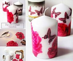 Decoupage Candles Paper Napkin Craft