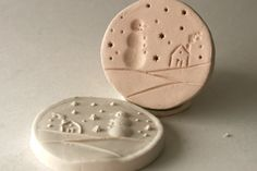Snowman in a Snowstorm Winter Scene Clay Stamp for Ceramics Pottery Polyclay on Etsy, $15.00