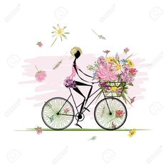 Girl With Floral Bouquet In Basket Cycling Royalty Free Cliparts ...