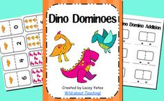 FREEBIE! Use these fun dinosaur themed dominoes for number recognition and addition practice.Recording sheet for addition included.