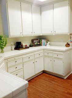 Letu0027s Die Friends: Easy Kitchen Cabinet Makeover   WHITE Tile Counters