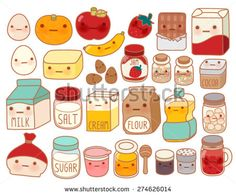 Collection of lovely cake ingredient icon , cute egg , adorable milk , sweet flour , kawaii strawberry, girly butter Isolated on white in childlike  manga cartoon style - Vector file EPS10