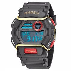 Caleen6 Men Digital Watches 50M Waterproof Multifunction Climbing Dive LCD mens Wristwatch Red *** You can find more details by visiting the image link.Note:It is affiliate link to Amazon.