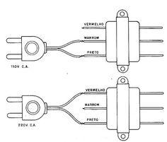 Ligando transformador em 110 V ou em 220 V.