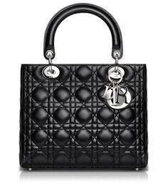 LADY DIOR - Lady Dior bag in black leather