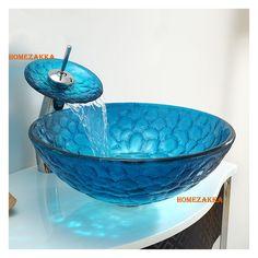 彩色上絵洗面ボウル&蛇口セット 洗面台 手洗い器 排水金具付 泡柄 青色 HAM009