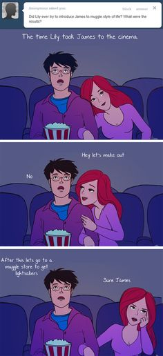 """These Hilarious """"Harry Potter"""" Comics Ask James And Lily Potter Questions Lily Potter, James Potter, Harry Potter Comics, Harry Potter Love, Harry Potter Fandom, Harry Potter Memes, Harry Potter Couples, Lily Evans, Remus Lupin"""