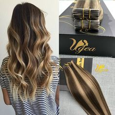 Balayage Ombre Remy Human Tape in Hair Extensions Skin Weft Brown Blonde Hair #Ugea