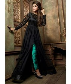 Black and Dark Cyan Embroidered Anarkali Suit