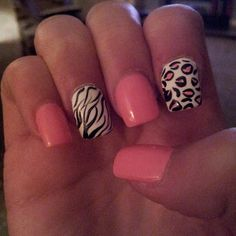 # pink #zebra #leopard nails!