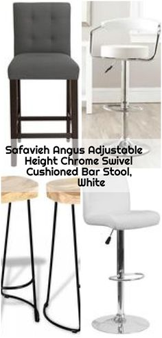 Safavieh Angus Adjustable Height Chrome Swivel Cushioned Bar Stool, White , Safavieh Angus Adjustable Height Chrome Swivel Cushioned Bar Stool - The Home Depot. White Counters, Counter Bar Stools, Chrome, Table, Furniture, Home Decor, Decoration Home, Room Decor, Counter Height Stools