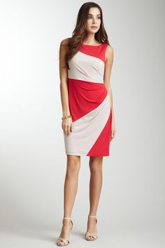 Colorblock Side Ruched Dress by Muse on @HauteLook