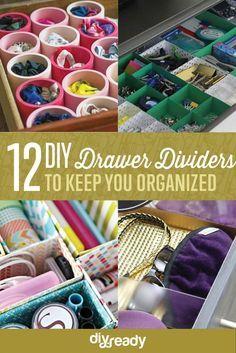 DIY Drawer Dividers | Cheap And Cute Organizer Ideas by DIY Ready at http://diyready.com/diy-drawer-dividers/