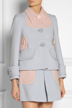 Miu Miu | Two-tone wool-twill jacket | NET-A-PORTER.COM