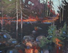 Dominique Normand - Beaver pond Pond, Painting, Normandy, Contemporary Art, Water Pond, Paintings, Draw, Drawings
