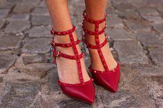 Ruby Red kitten heels