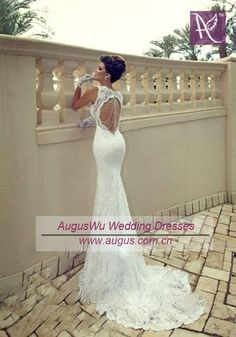 2013 White Ivory Cap Sleeves Lace Mermaid Wedding Dress Custom Sz 2 4   eBay