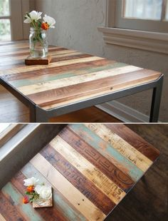Table top idea for front deck.  Distressed top for the table.  Could be a great way to bring in color, yet show the beauty of the wood.